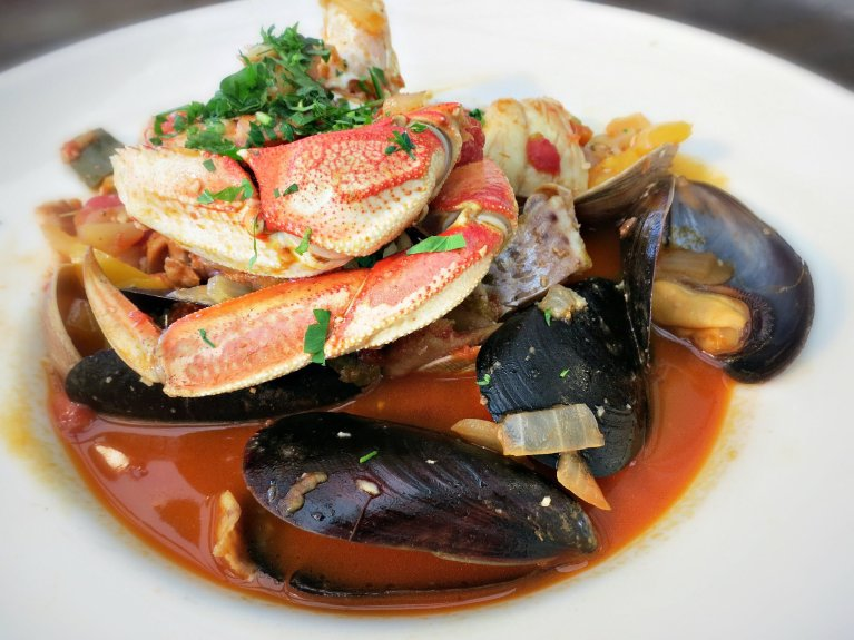 Sam's Chowder House Cioppino with Dungeness Crab