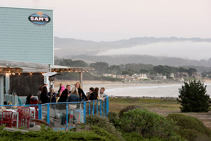 Sam's Chowder House outdoor patio dining on the waterfront in Half Moon Bay