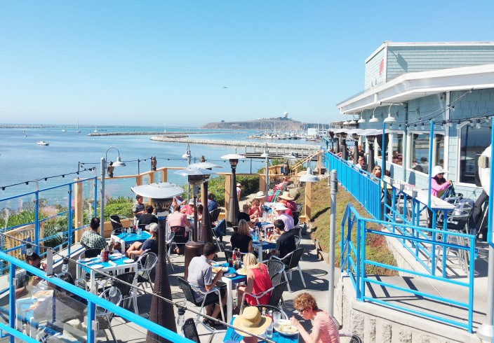 Sam's Chowder House ocean view outdoor dining patio
