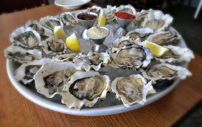double dozen oyster platter at Sam's Chowder House