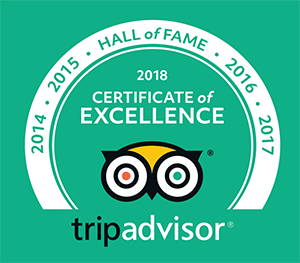 Tripadvisor 2018 Hall of Fame Certificate of Excellence