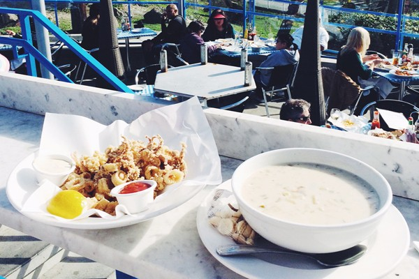 7x7 must-stop seafood shacks includes Sam's Chowder House in Half Moon Bay