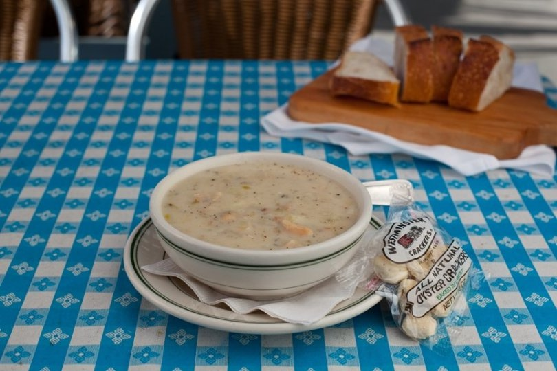 best bay area clam chowder at Sam's Chowder House