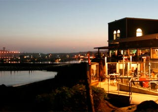 Sam's Chowder House ocean view at sunset