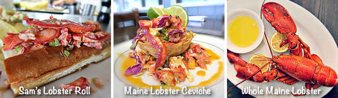 Sam's lobster roll, Maine lobster ceviche, whole Maine lobster