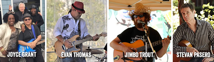 live music at Sam's Chowder House including Joyce Grant, Evan Thomas, Jimbo Trout and Stevan Pasero