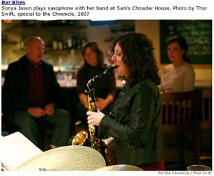 Sonya Jason plays saxophone at Sam's Chowder House