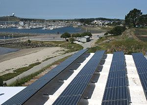 rooftop solar panels on Sam's Chowder House in Half Moon Bay