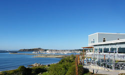 Sam's Chowder House and harbor view