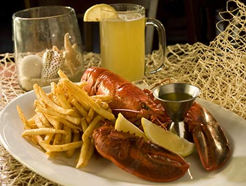lobster with fries