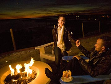 romantic firepits with ocean view
