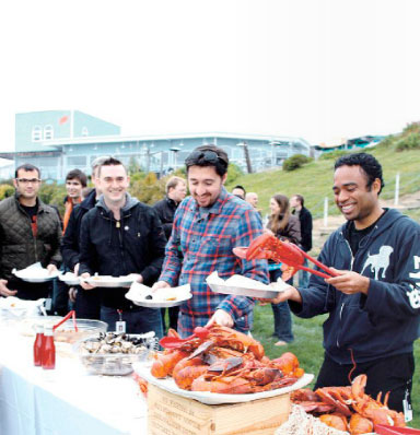 corporate banquet featuring lobster clambake at Sam's Chowder House, Half Moon Bay